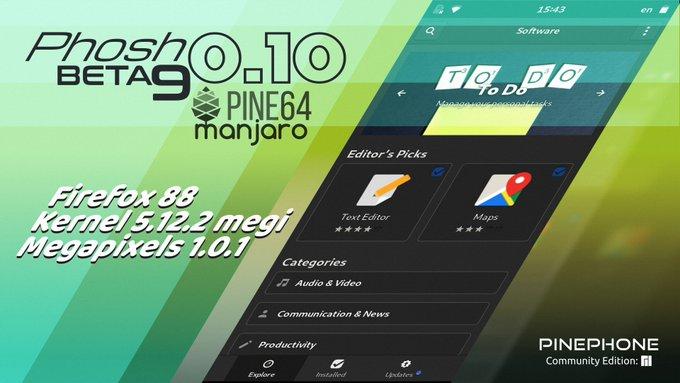 Manjaro ARM Beta9 of Phosh for PinePhone