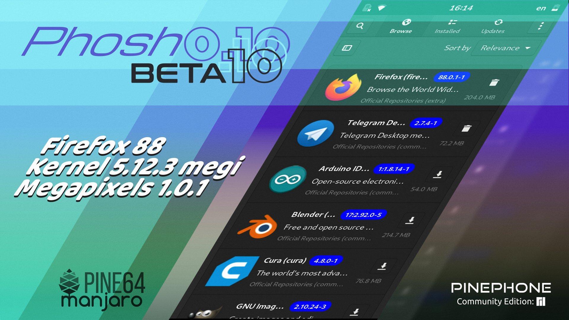 Manjaro ARM Beta10 of Phosh for PinePhone